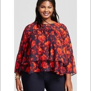 A NEW DAY FLORAL TIERED RUFFLE BLOUSE